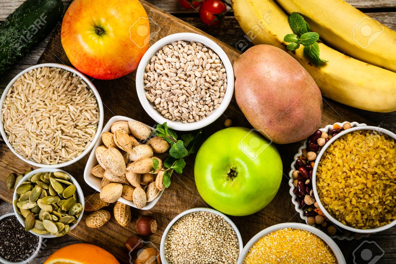 Selection of good carbohydrates sources. Healthy vegan diet - 116033426