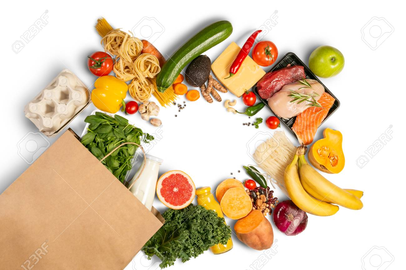 Grocery shopping concept - foods with shopping bag - 117145926