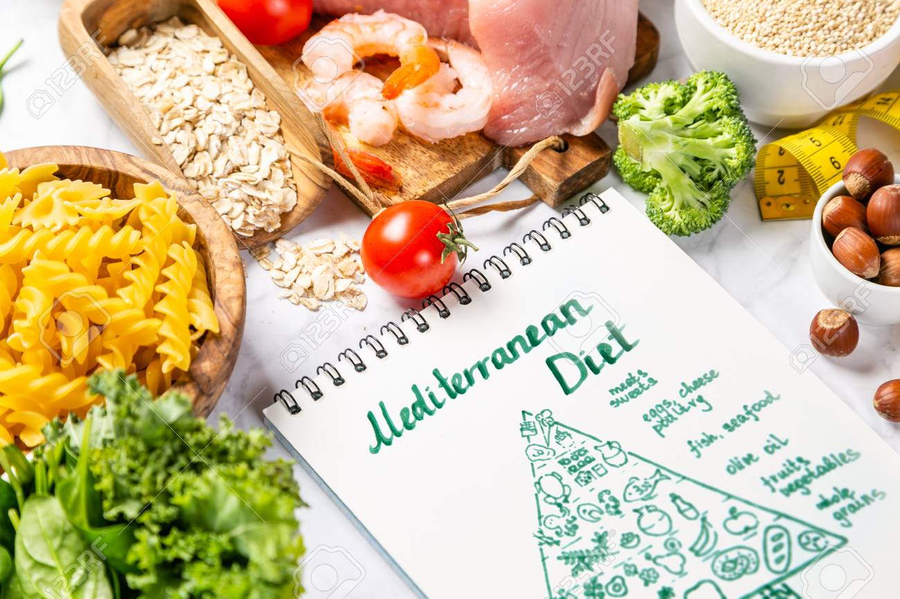 Mediterranean diet concept - meat, fish, fruits and vegetables - 120846565