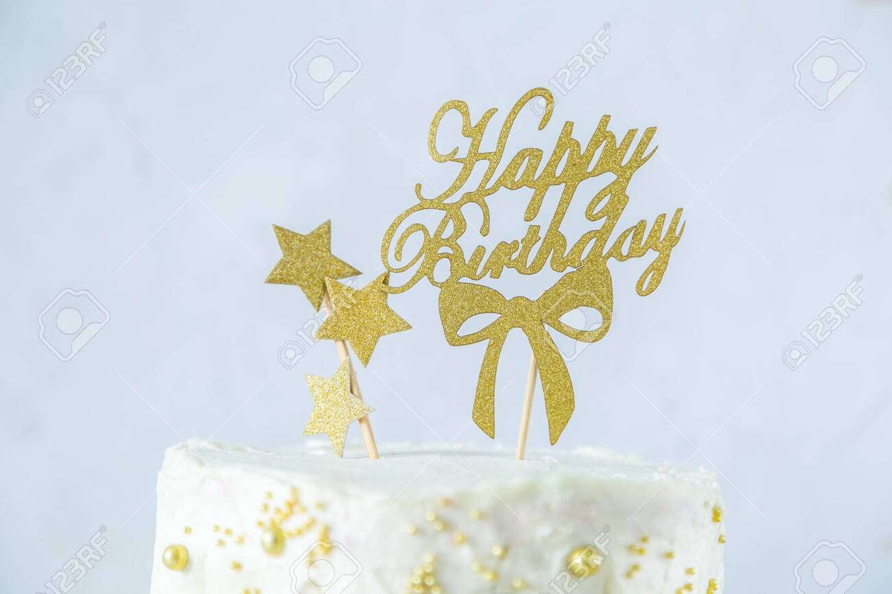 Strange Golden Birthday Concept Cake Presents Decorations Stock Photo Personalised Birthday Cards Epsylily Jamesorg