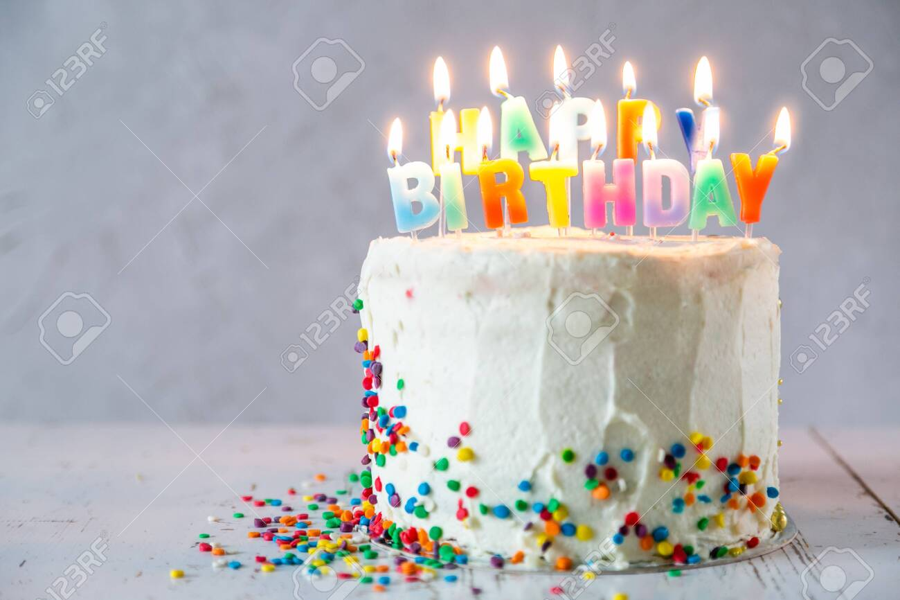 Surprising Colorful Birthday Concept Cake Candles Presents Decorations Funny Birthday Cards Online Overcheapnameinfo