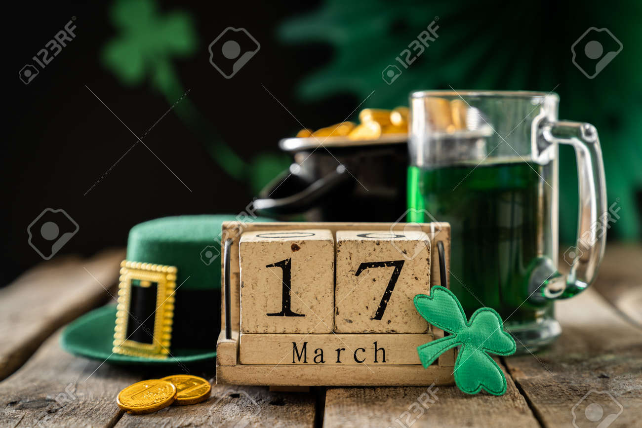 St. Patricks day concept - green beer and symbols - 164011260