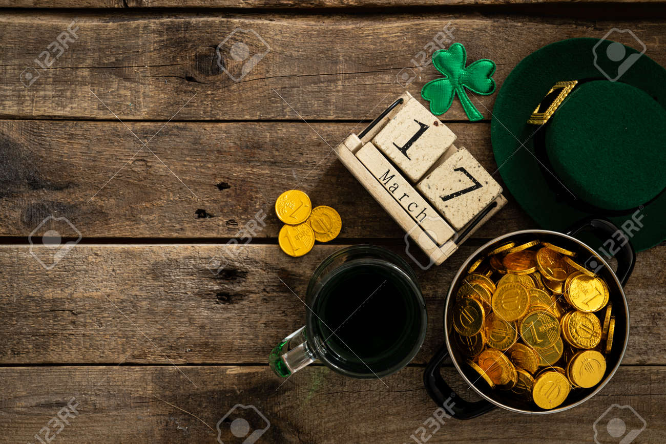 St. Patricks day concept - green beer and symbols - 164010032