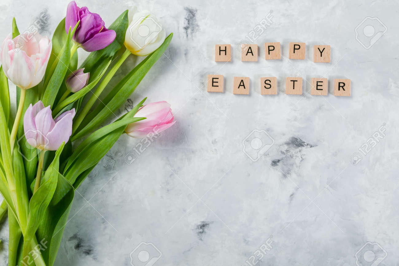 Easter concept - cookies with flowers on marble background - 164101150
