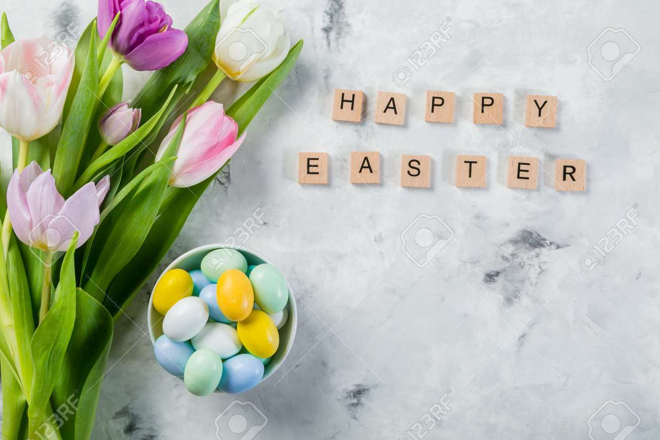 Easter concept - cookies with flowers on marble background - 164101151