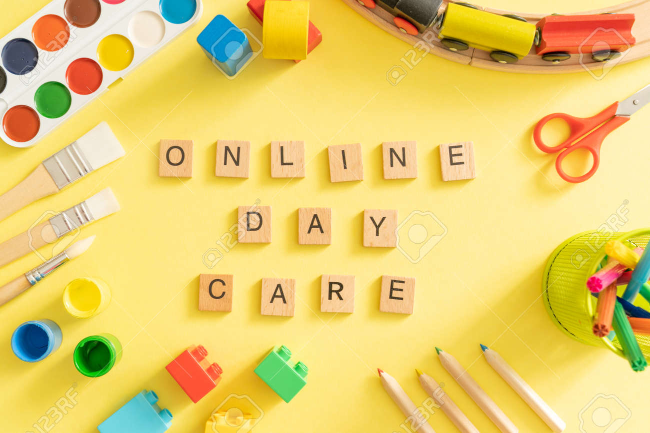Online day care cover concept - toys and supplies with isolated tablet - 164100913