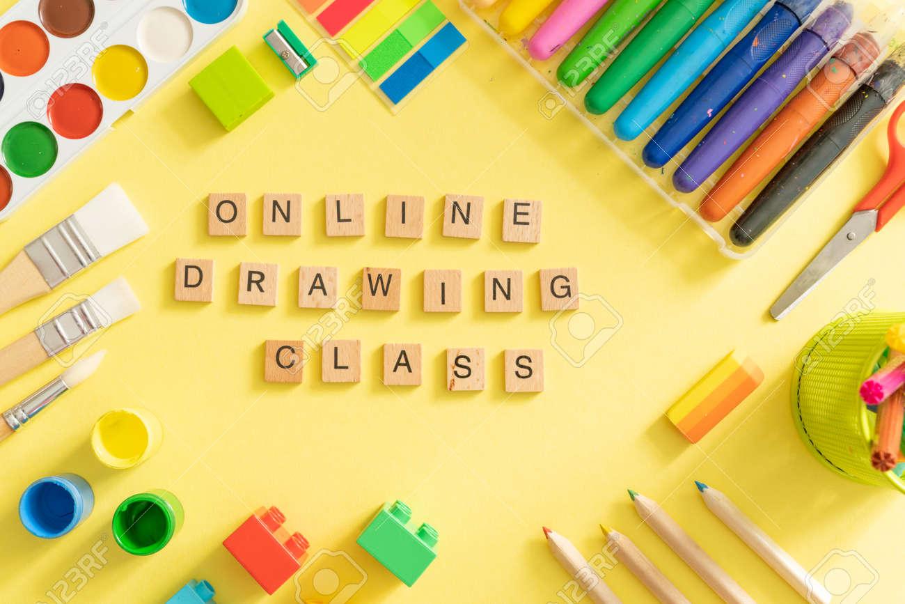 Kids online drawing class concept - supplies - 170905357