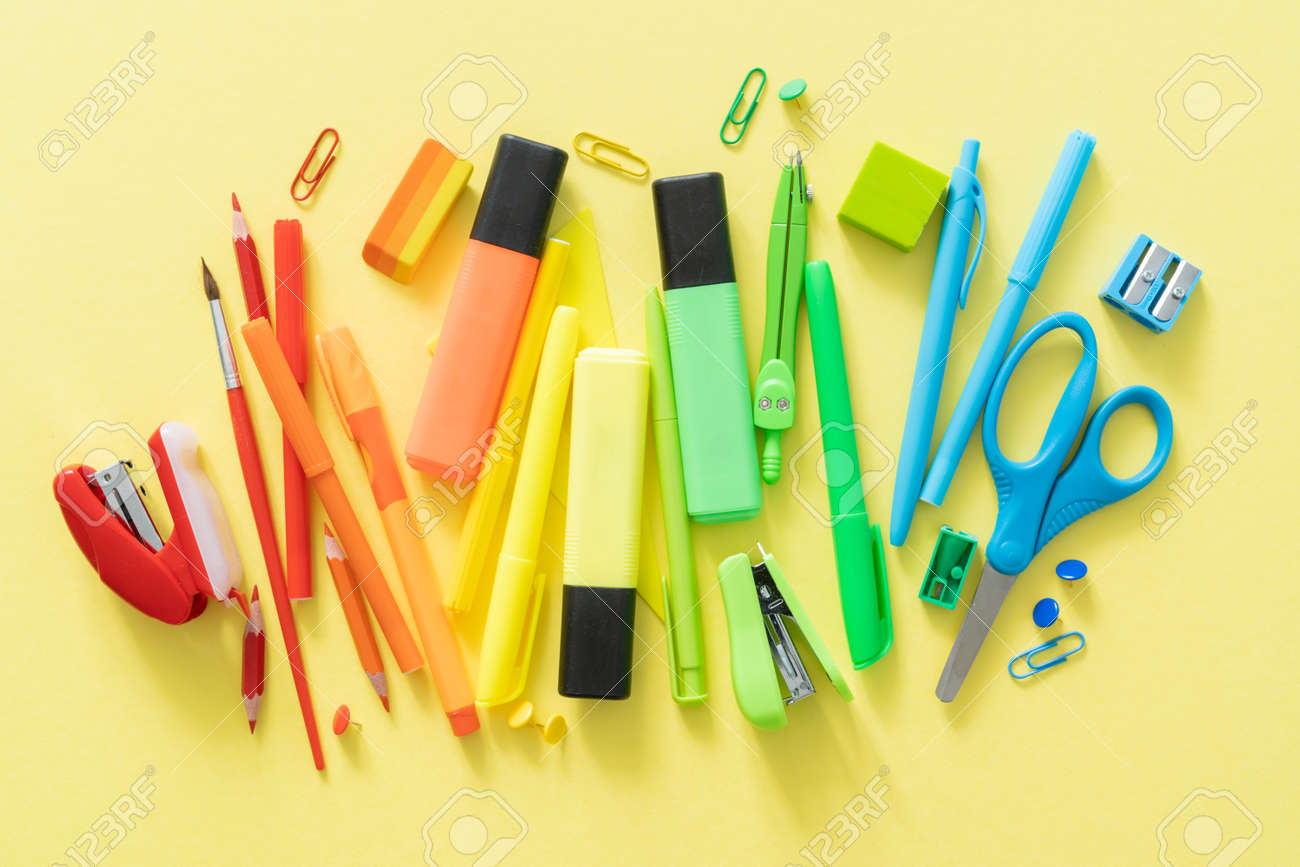 Back to school concept - colorful school supplies - 170905355