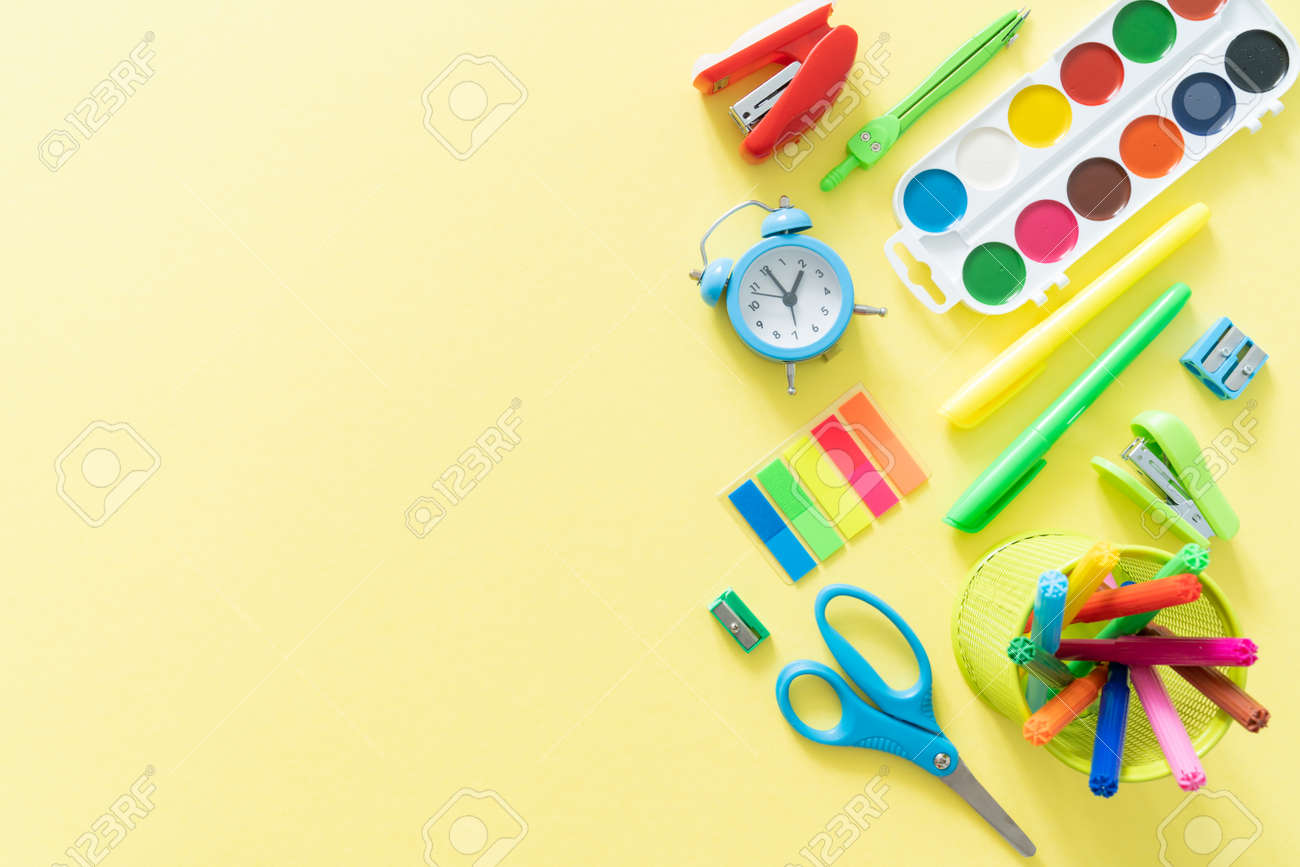 Back to school concept - colorful school supplies - 170905359