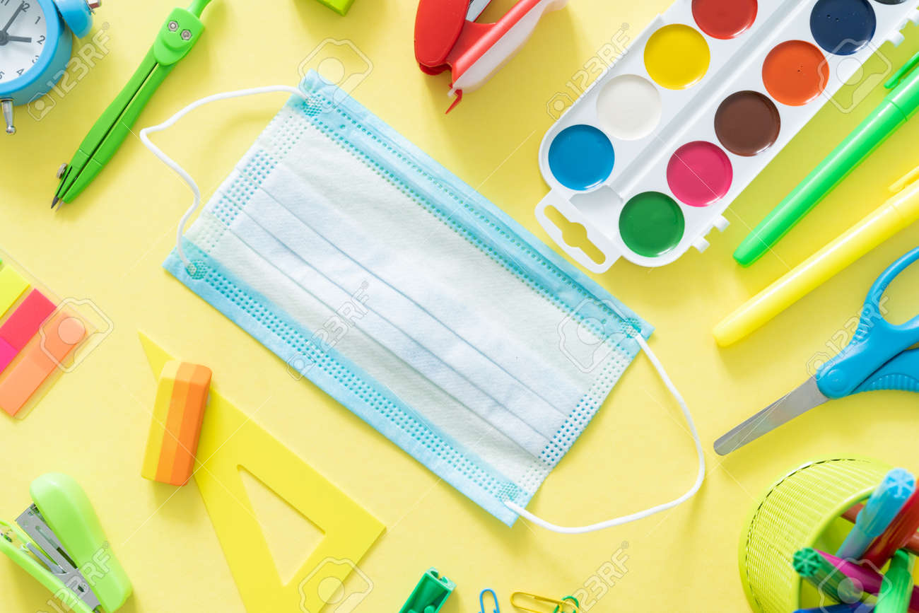 Back to school and covid-19 concept - colorful school supplies - 170905360