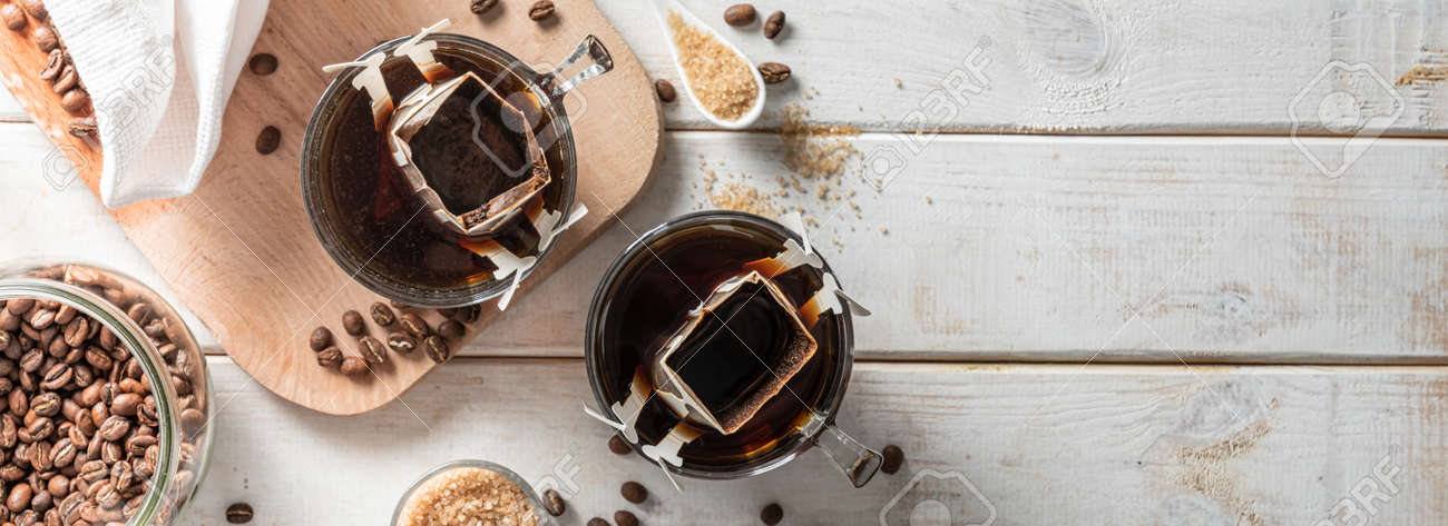 Drip coffee concept on white woob background - 172034638