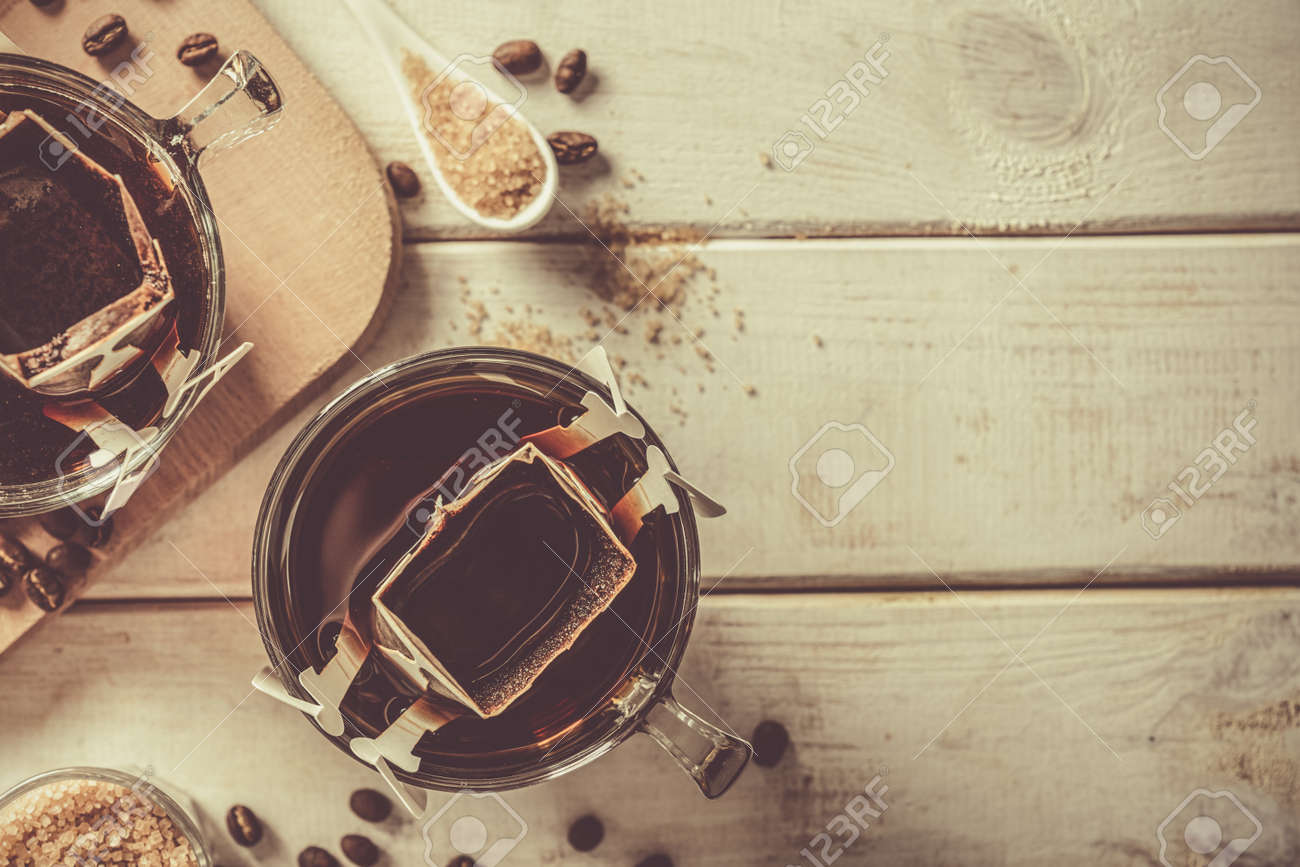 Drip coffee concept on white woob background - 172034660