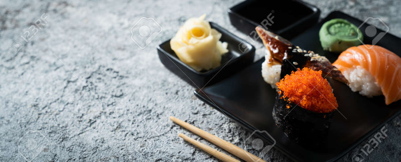 Selection of sushi on rustic background, copy space - 171998694