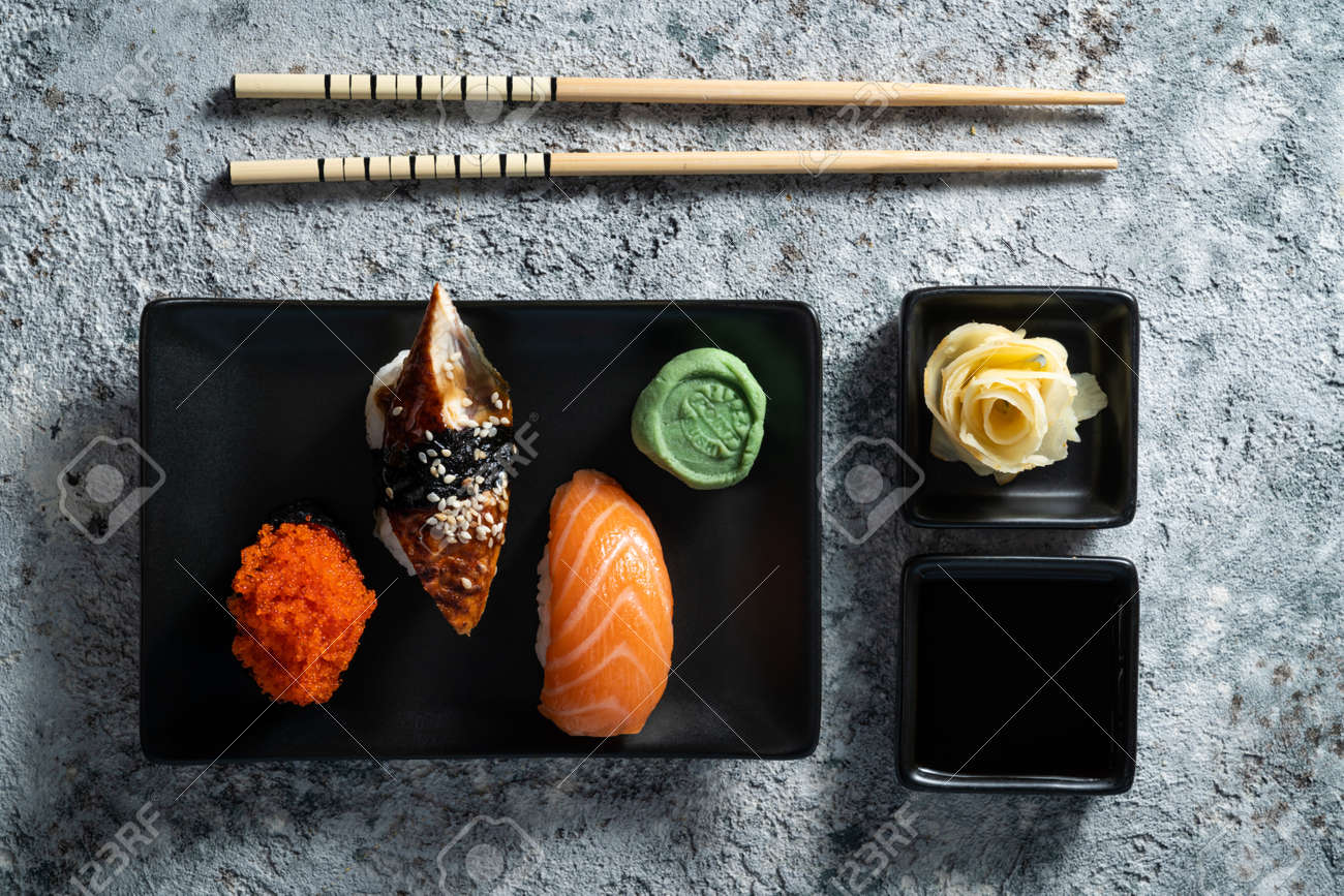 Selection of sushi on rustic background, copy space - 171998713
