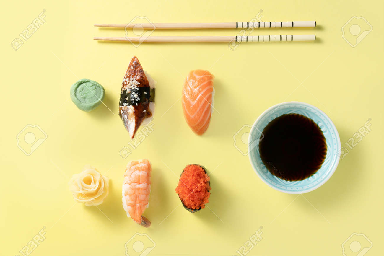 Creative food concept - selection of sushi, color blocking - 171998720