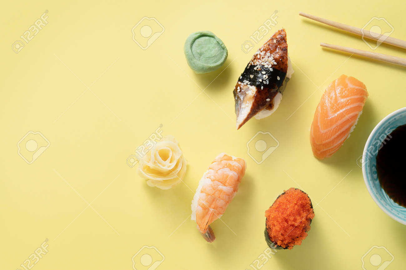Creative food concept - selection of sushi, color blocking - 171998722