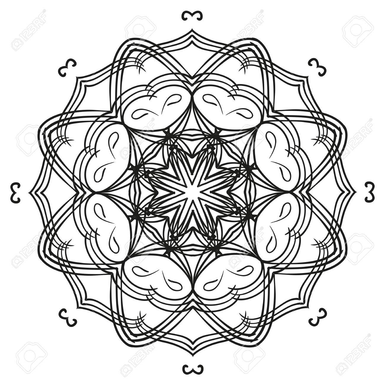 Contorno Intrincado Mandala Ornamento Floral Circular. Elemento De ...