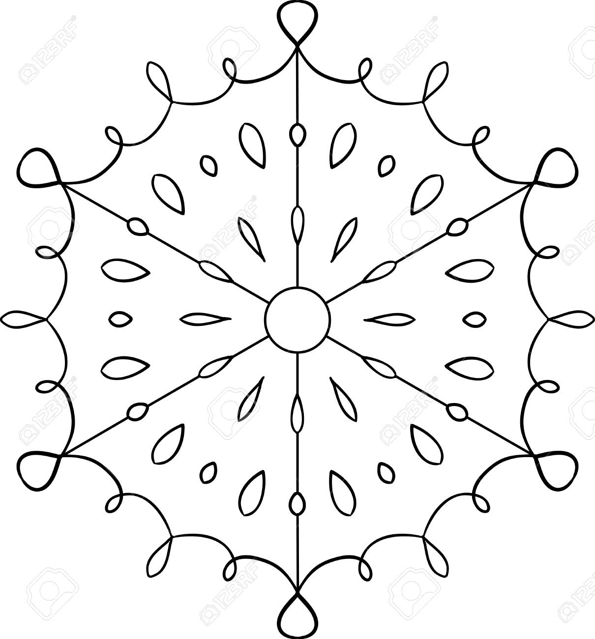 Outline Circular Snowflake Ornament. Coloring Page. Web Design ...