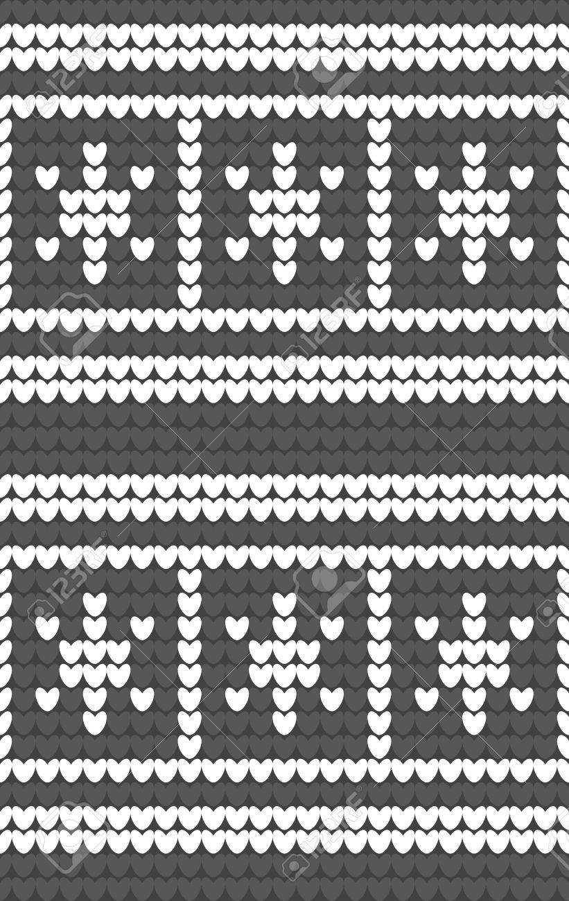 White Snowflakes On Gray Background Knitted Pattern. Winter Fair ...