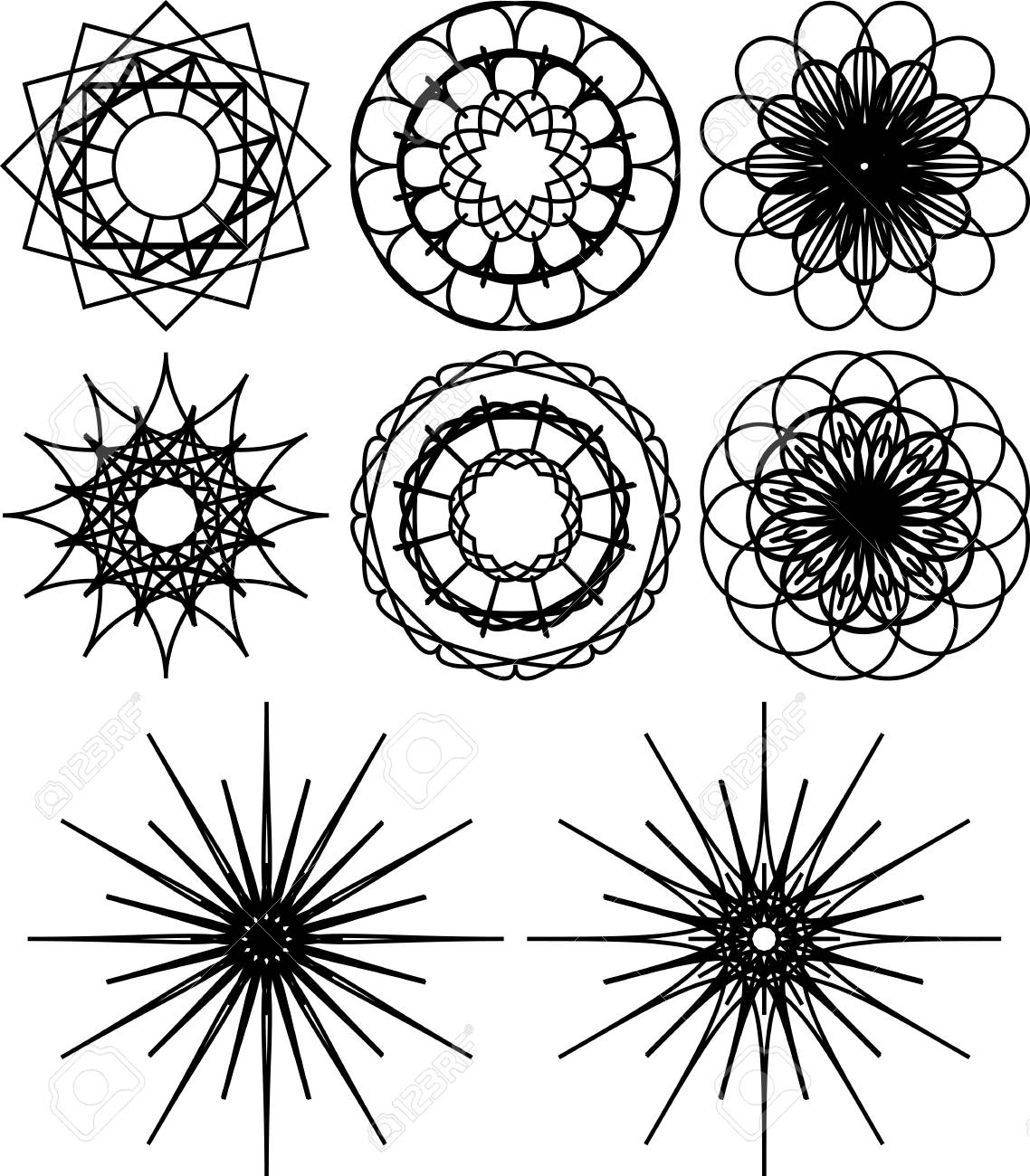 set of eight spirograph shapes black and white outline flowers and snowflakes web