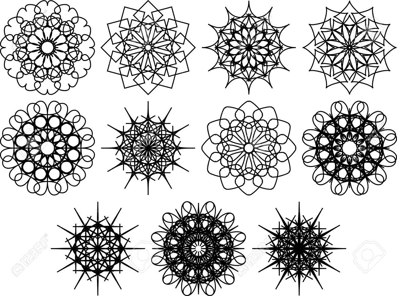 set of spirograph symbols flowers and snowflakes black outline floral web design elements