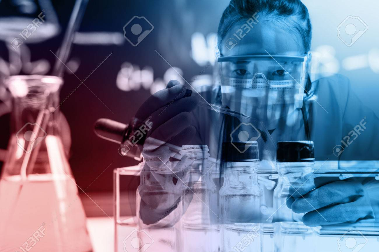 scientist with equipment and science experiments ;Double exposure style - 50039285