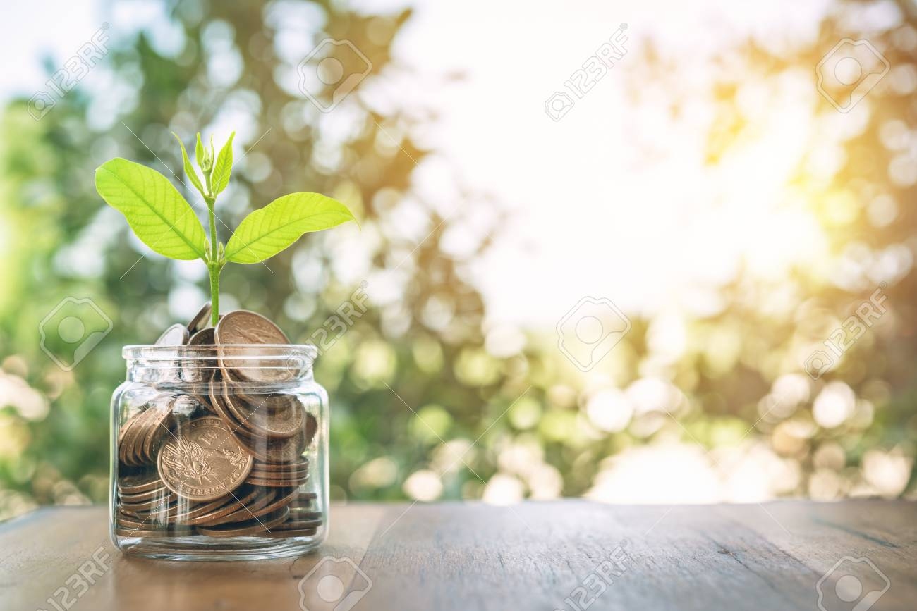 Money in the jar on wooden table .The concept of saving money for the future. Financial money concepts and savings.investment. - 104113627