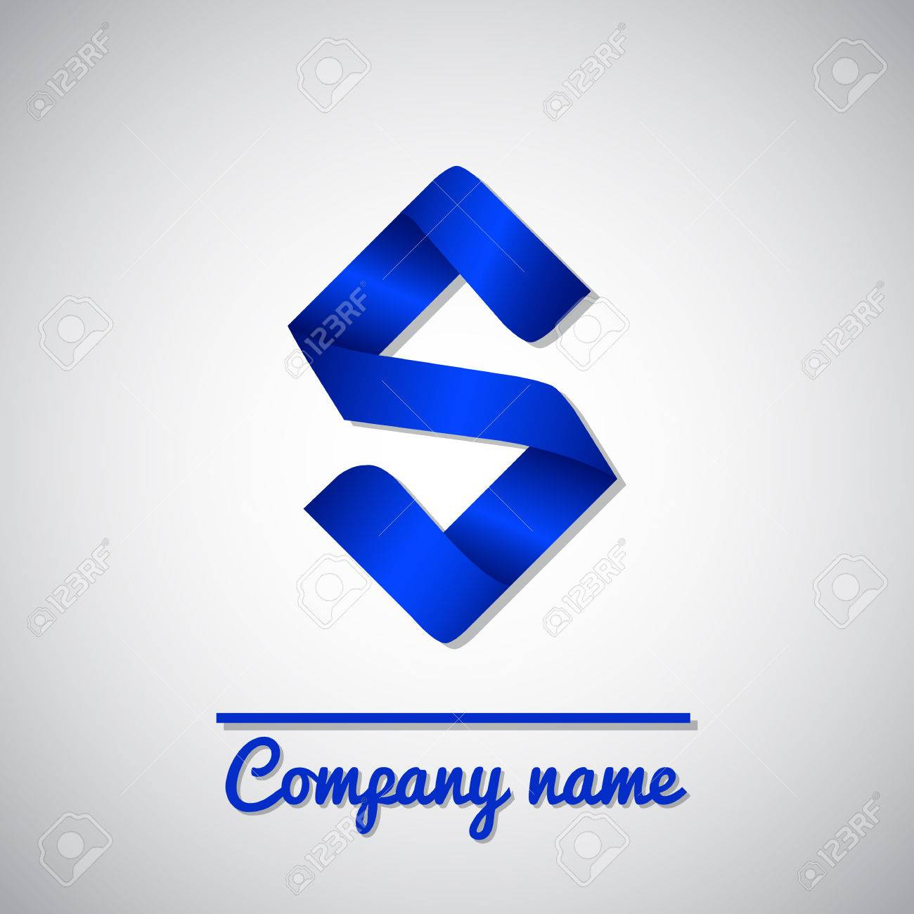 icon of blue paper business icon letter s origami style royalty
