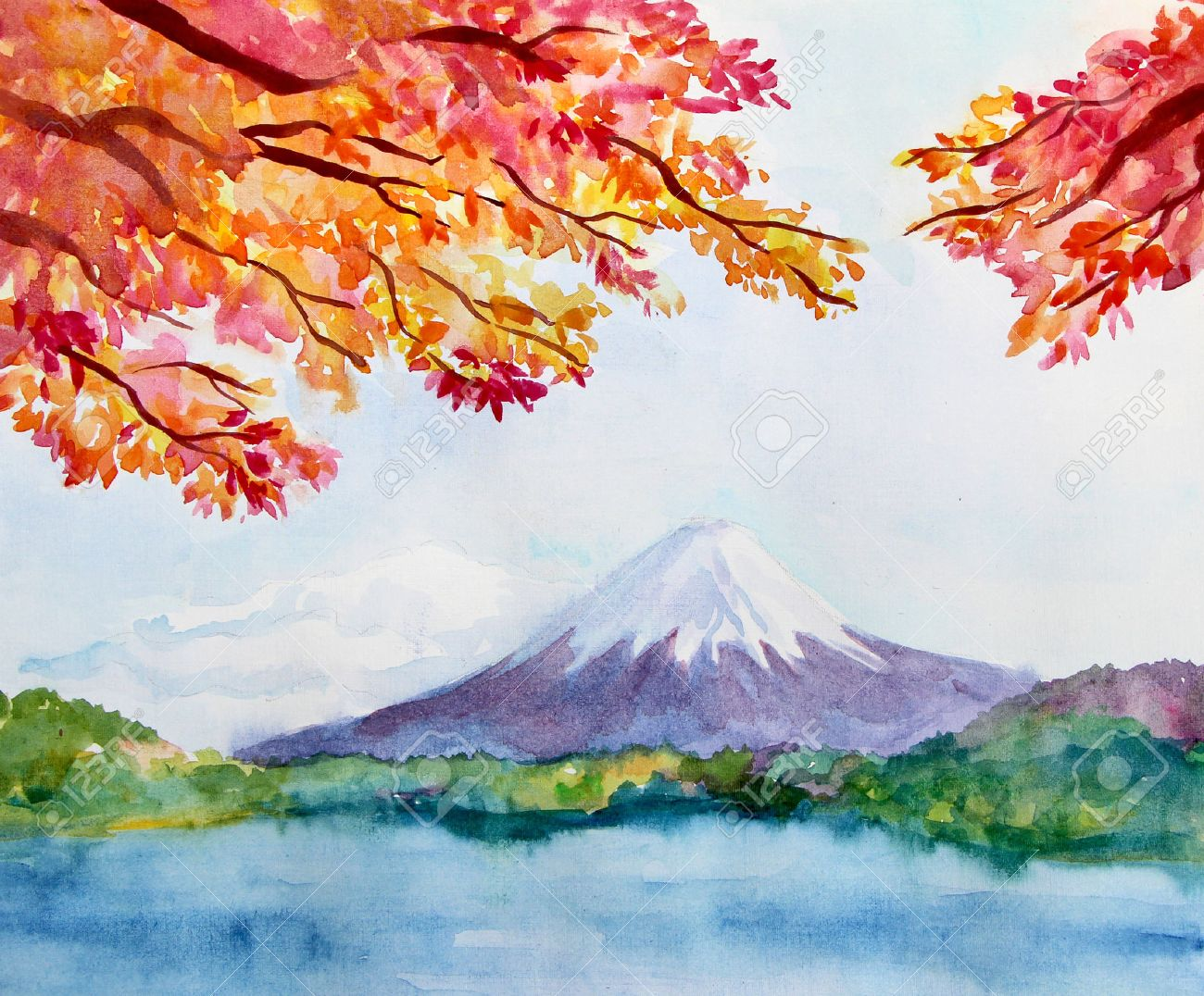 watercolor landscape with mountain fujiyama and maple tree autumn