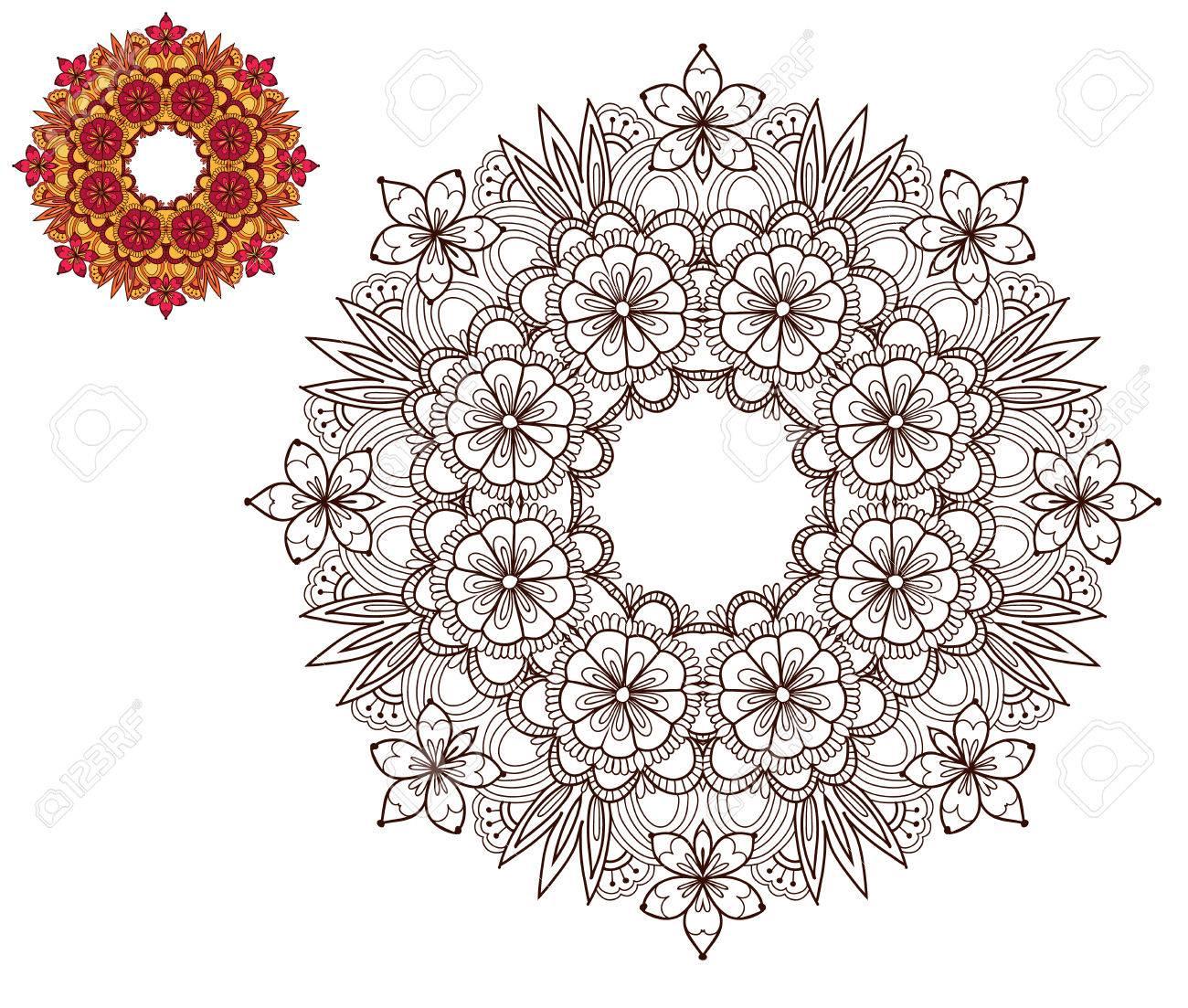 Seite Von Malbuch Mit Sonnenblumen. Blumen-Ornament. Beispiel, Wie ...