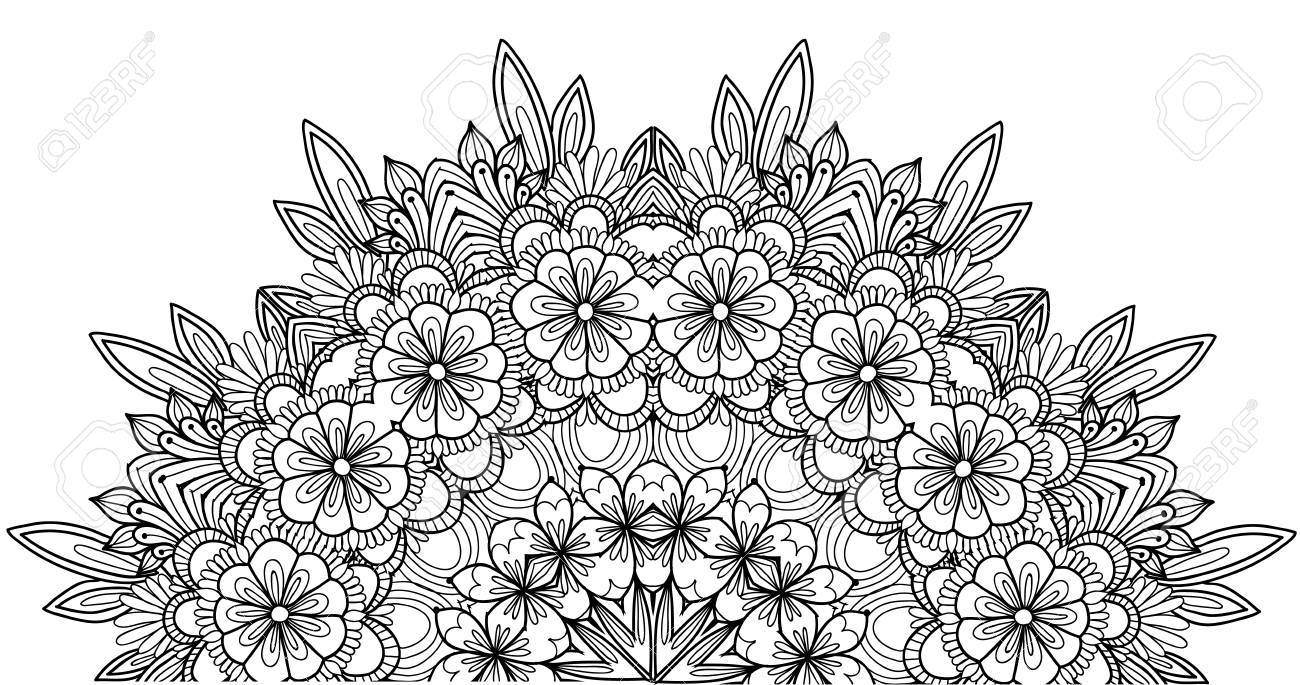 Page Of Coloring Book With Flowers Flower Ornament Stock Vector