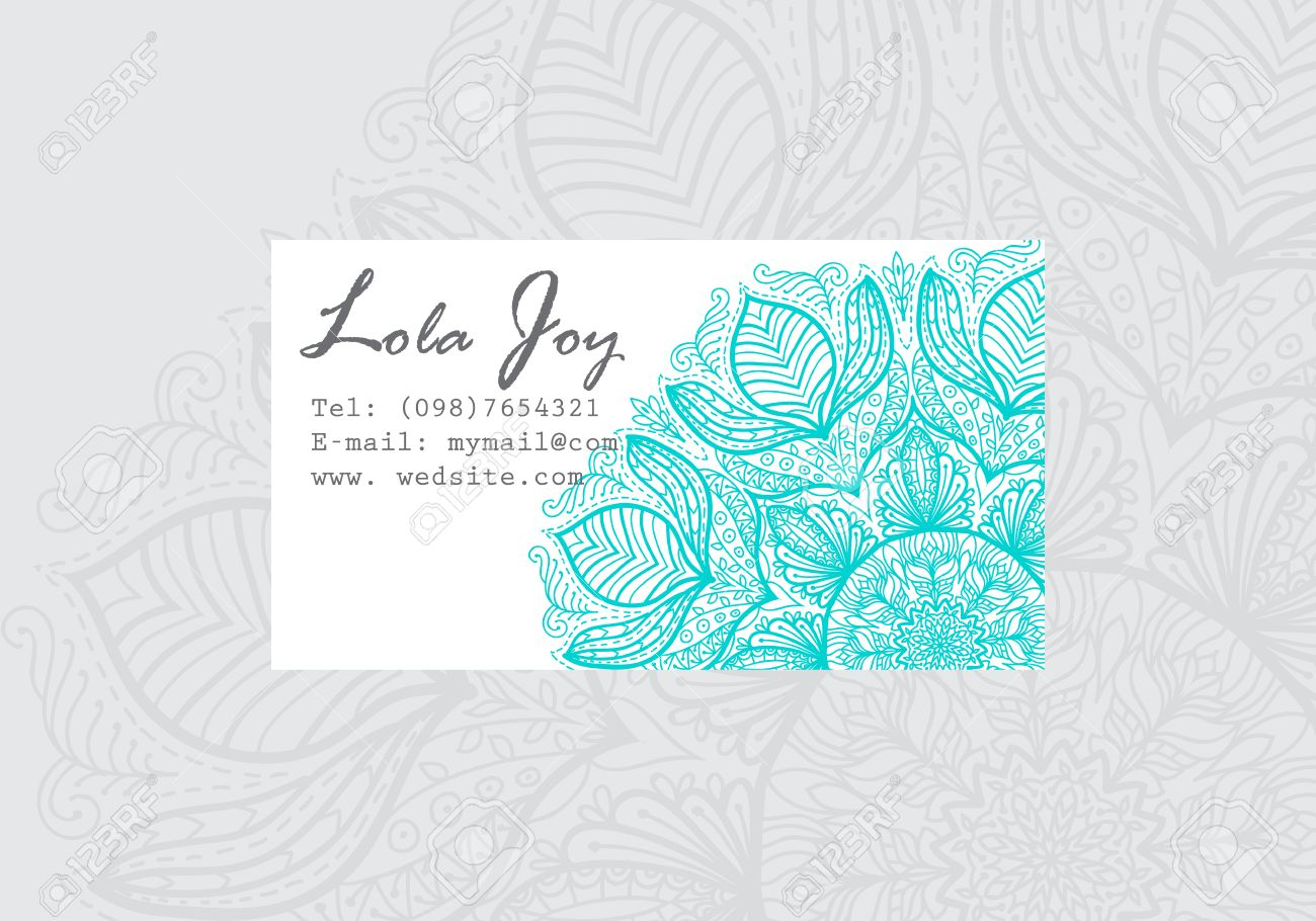 Business Card Template With Round Turquoise Mandala. Yoga Studio ...