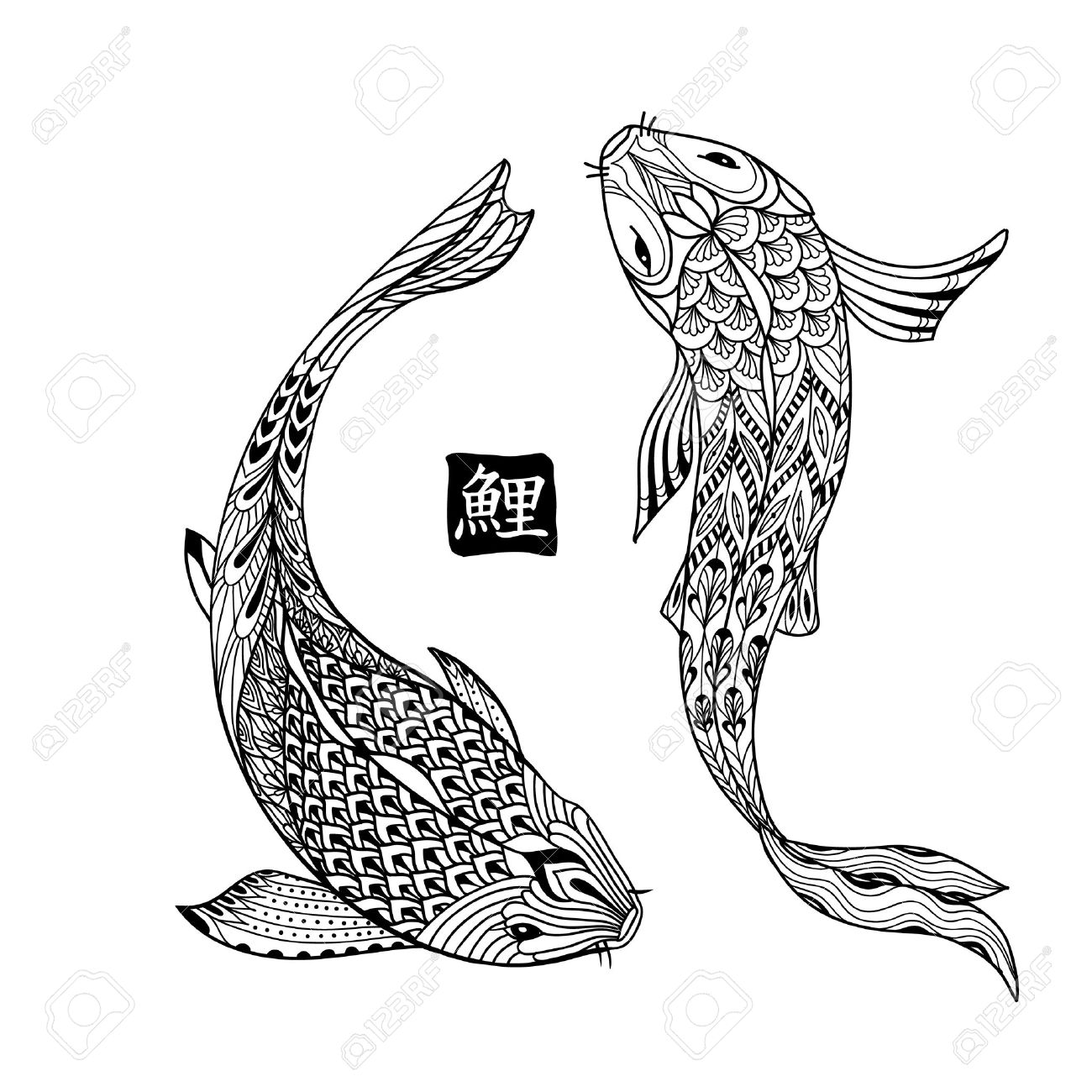 Hand drawn koi fish. Japanese carp line drawing for coloring book. Doodle. Characters meaning carp - 52463334