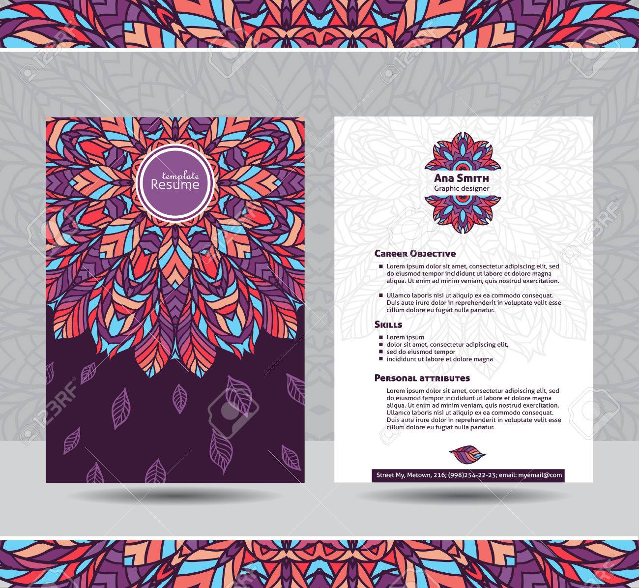 Creative Template For Resume. Colorful Round Mandala Ornament On Both  Sides. Ready For Use