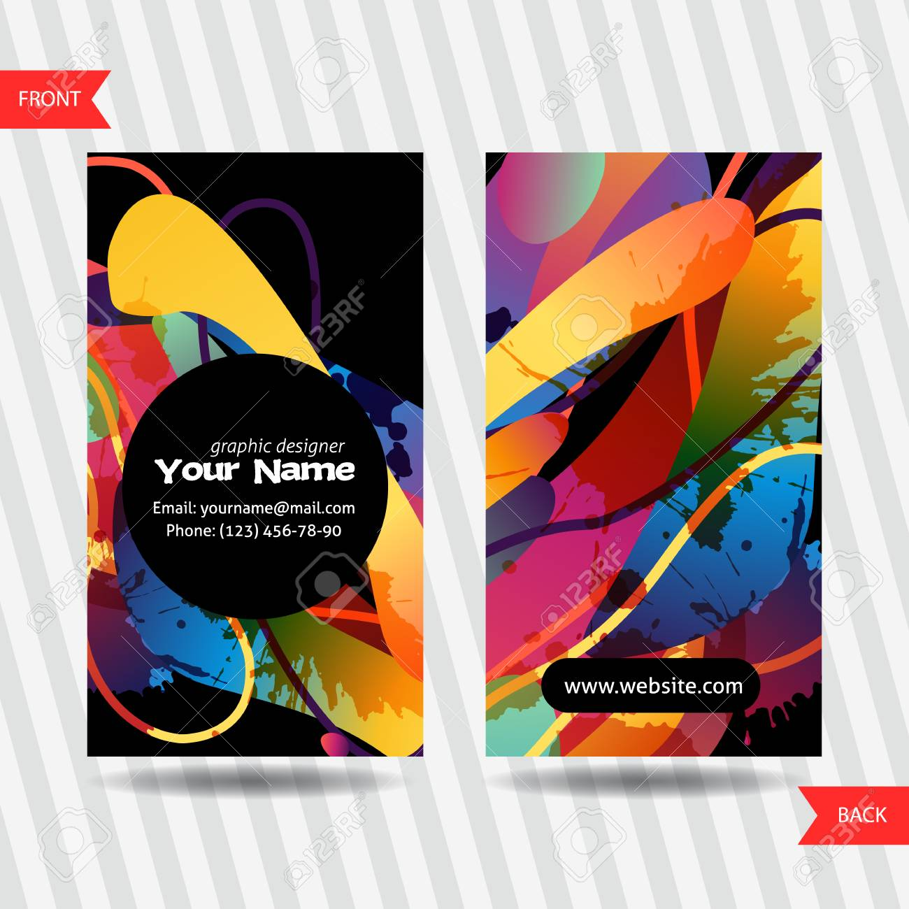 colorful decorative business cards with free shapes and blots
