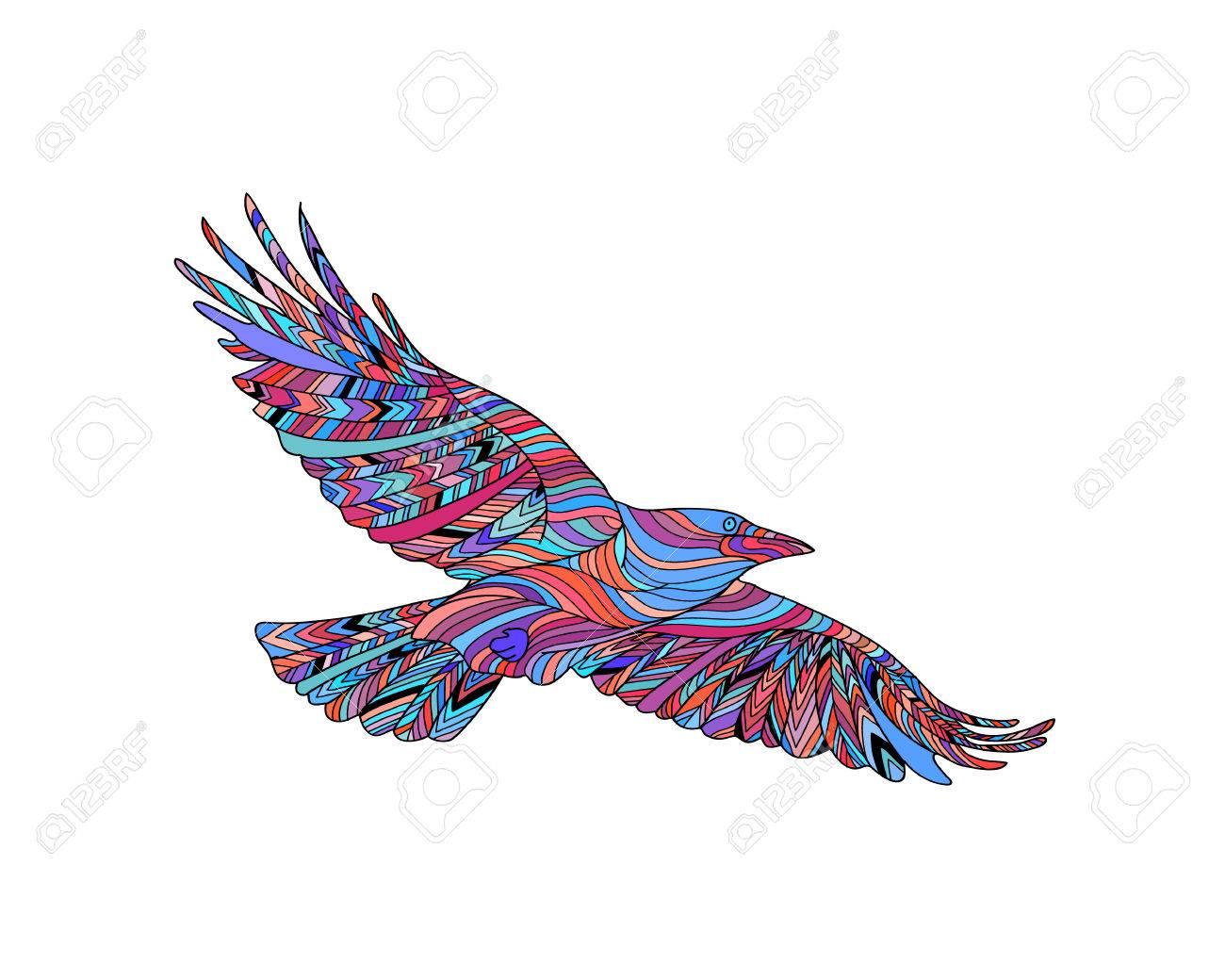 Corbeau à La Main Avec Motif Ethnique Coloriage Zendala Design