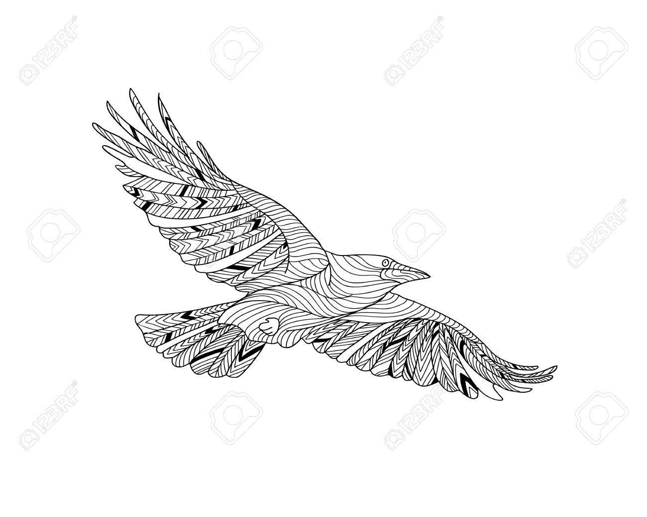 Cuervo Con El Modelo étnico Hecho A Mano Dibujo Para Colorear Zendala Diseño Para La Relajación Espiritual Para Los Adultos Ilustración