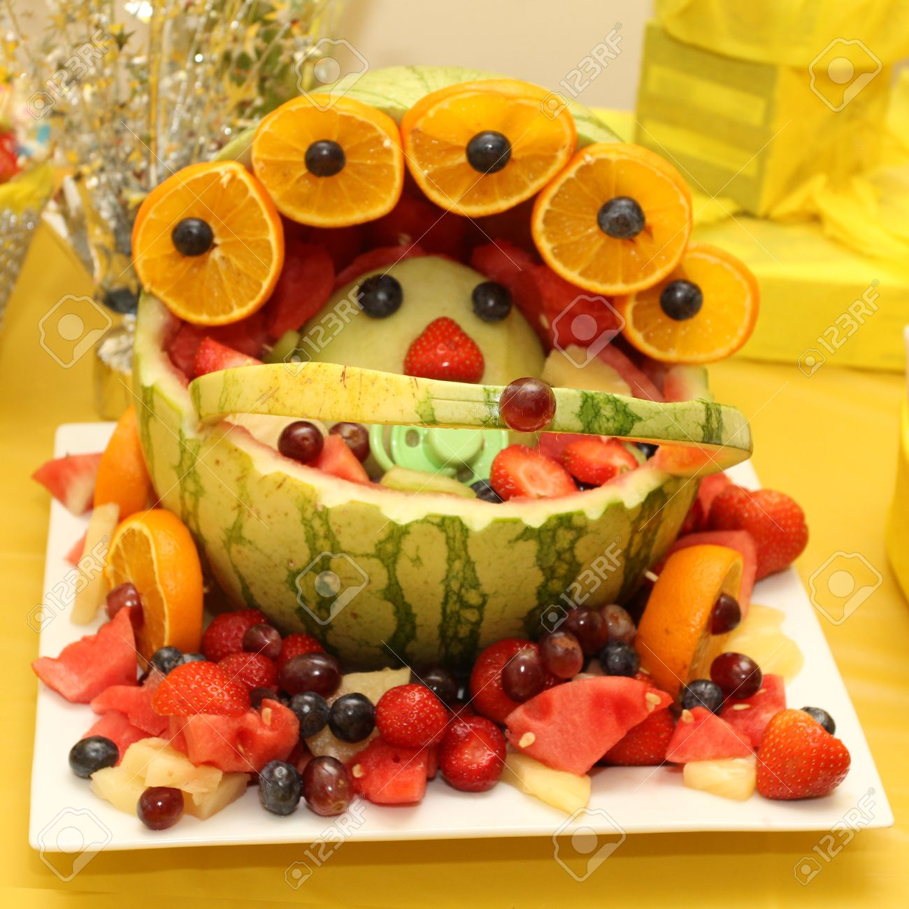 Fruit Basket Art Shaped As A Baby For Baby Shower Stock Photo   32623895