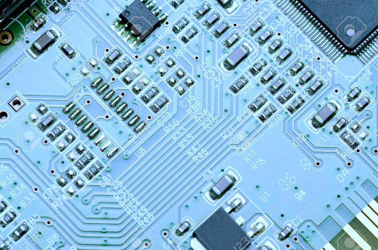 Blue Printed Circuit Board With Parts And Chips Close Up Stock Photo 98592308