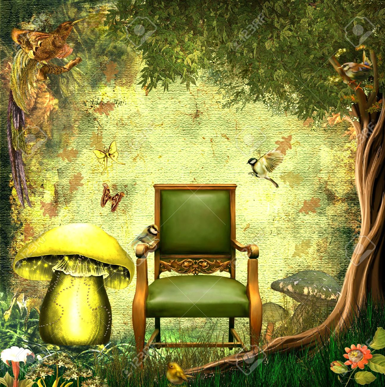 Admirable Fantasy Background With Birds Trees Butterflies Chair And Mushroom Inzonedesignstudio Interior Chair Design Inzonedesignstudiocom