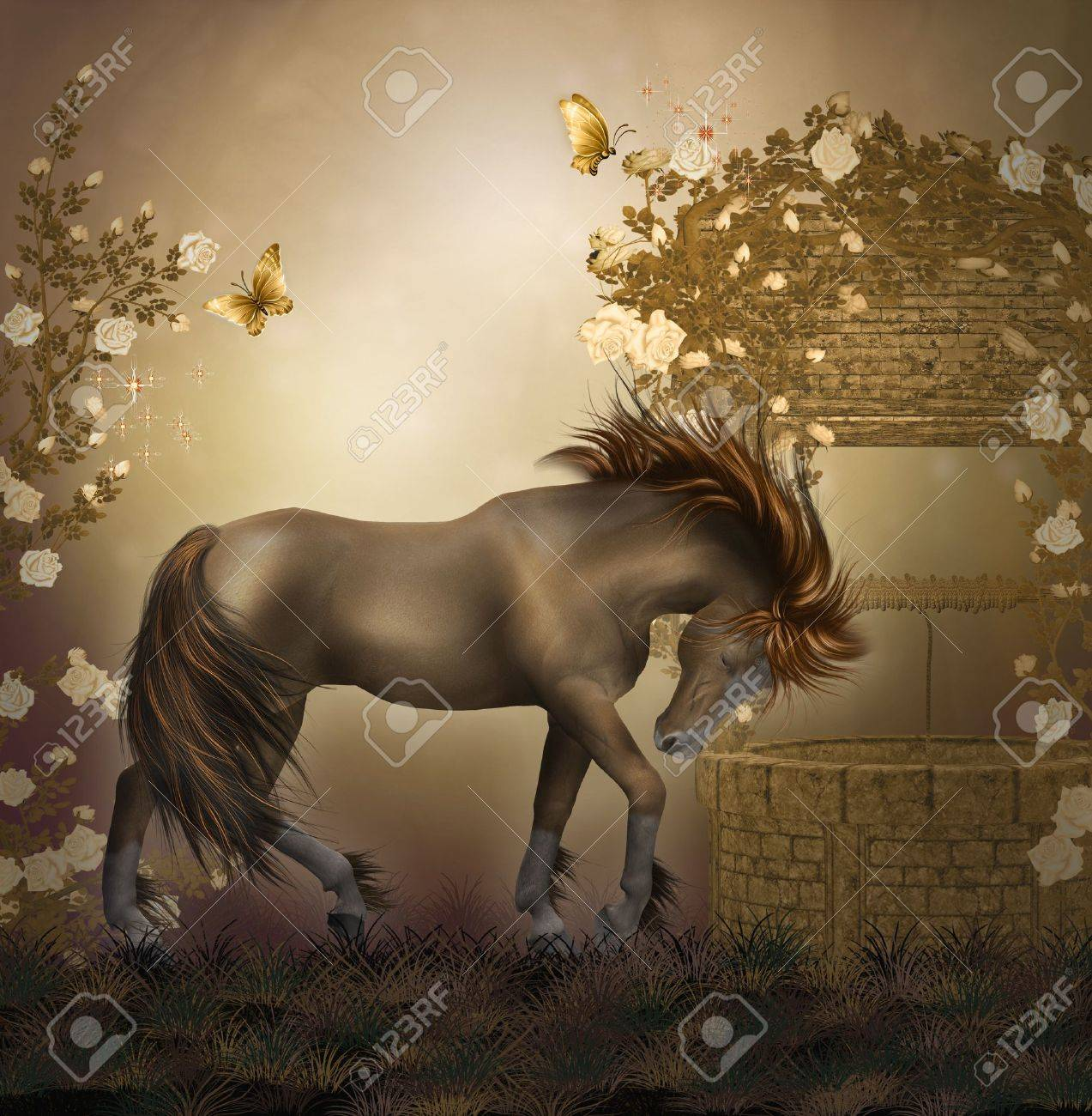 horse in a roses garden stock photo picture and royalty free