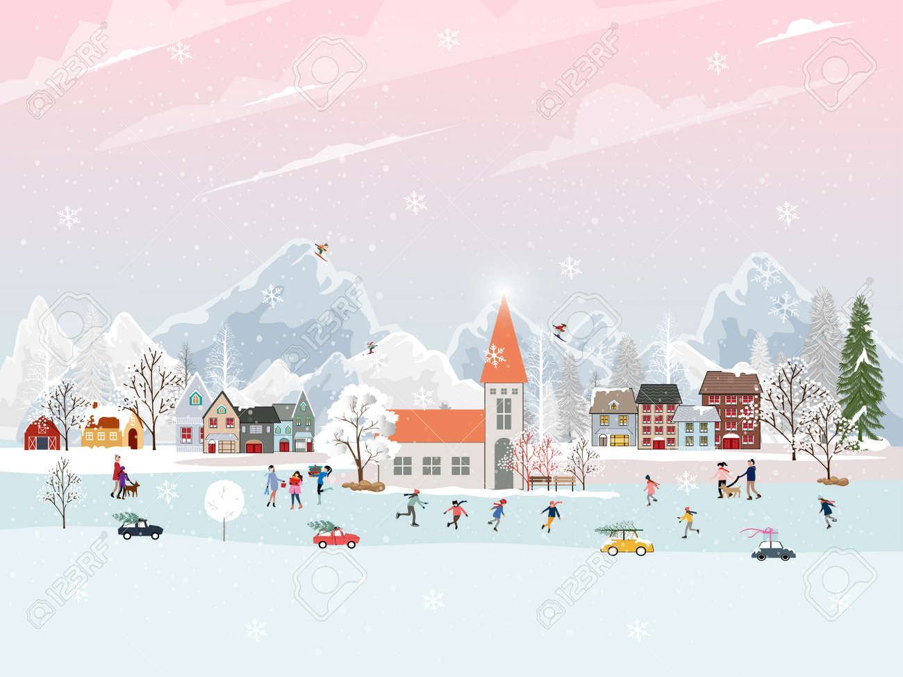 Winter landscape at night with people having fun doing outdoor activities on new year,Christmas day in village with people celebration, kid playing ice skates, teenagers skiing with snow falling - 159733935
