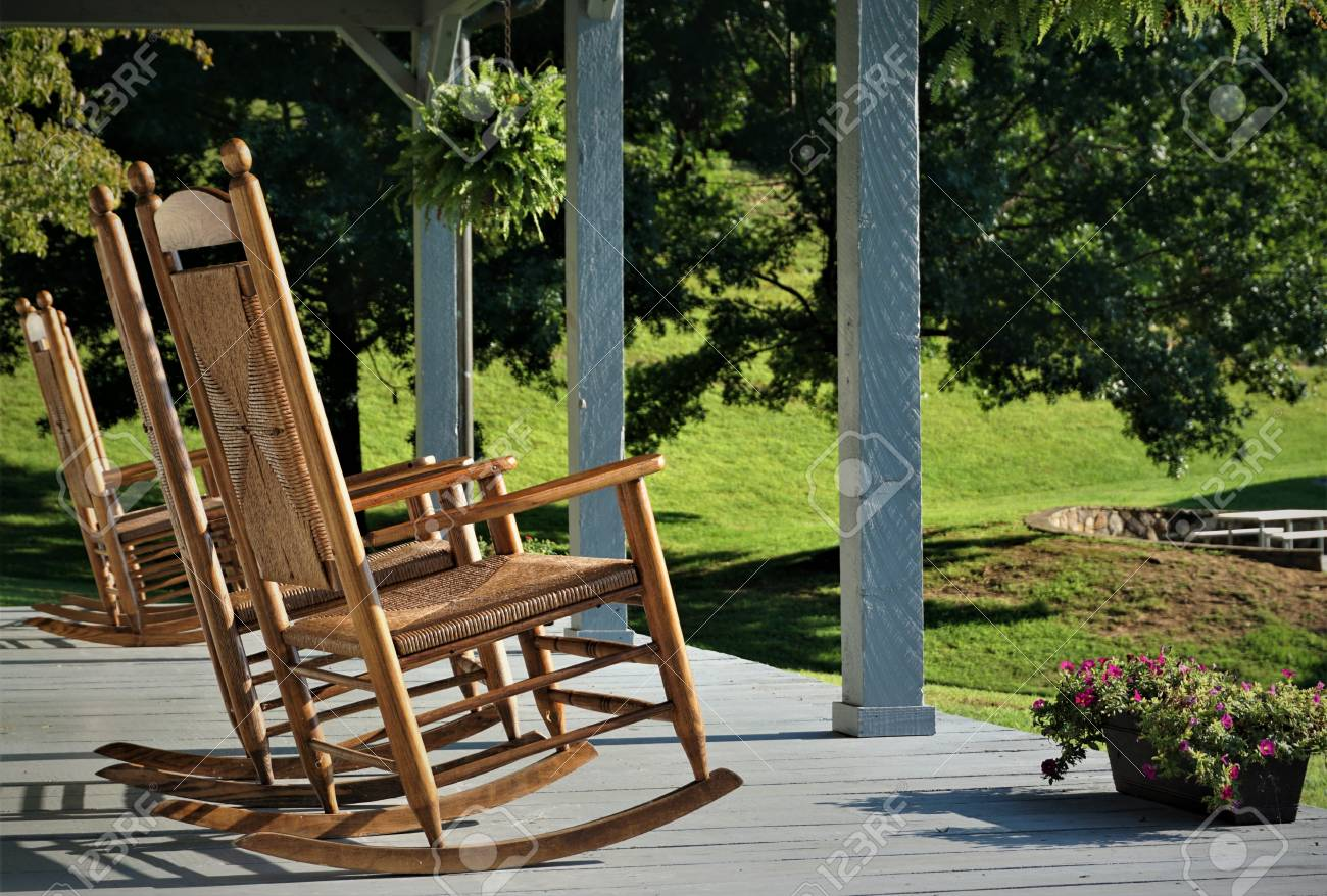 Terrific The Wooden Rocking Chair At The Terrace House With The Beautiful Squirreltailoven Fun Painted Chair Ideas Images Squirreltailovenorg