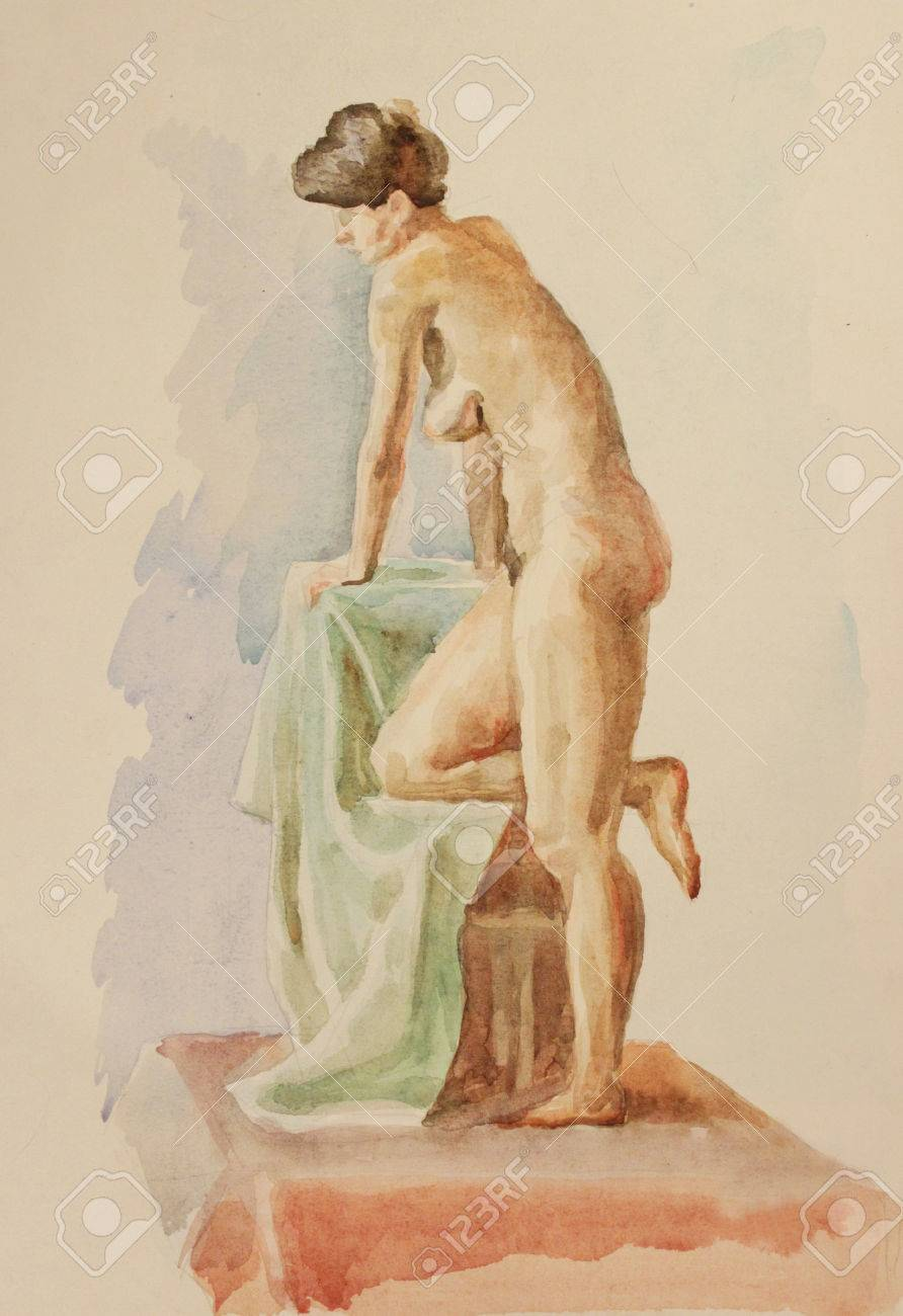 Stock Photo - Watercolor drawing of a nude pictorial Model in art studio