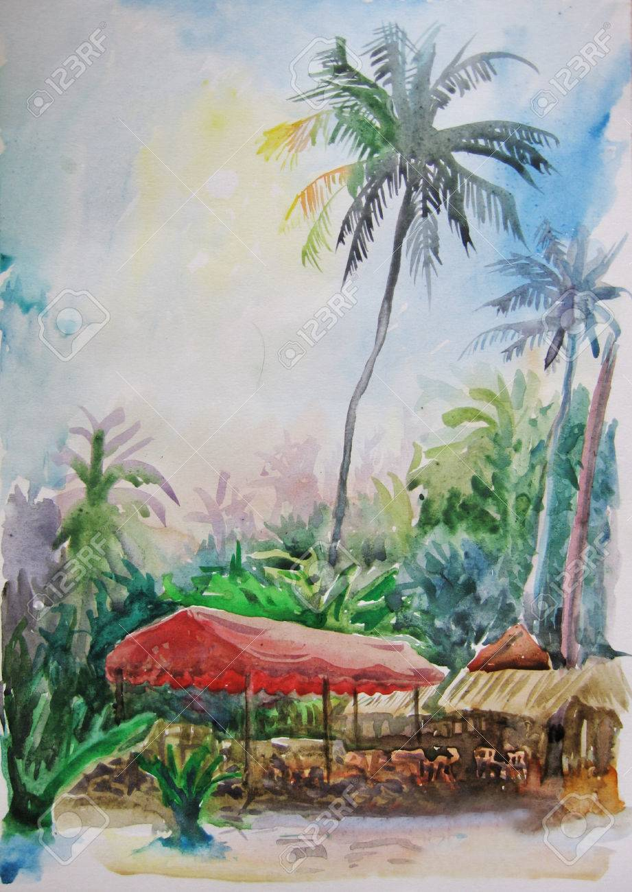 Color Landscape Watercolor Painting Of Palm Trees And Red Canopy ...
