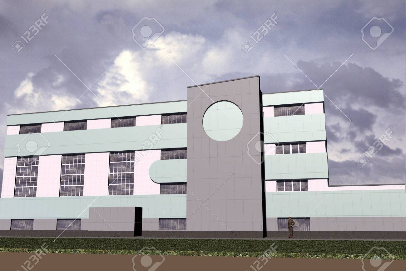 Modern Architecture Color color 3-d slide public office hotel building of modern