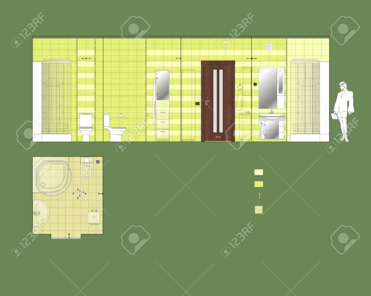 Drawing Wall And Floor Ceramic Tile Bathroom Stock Photo, Picture ...