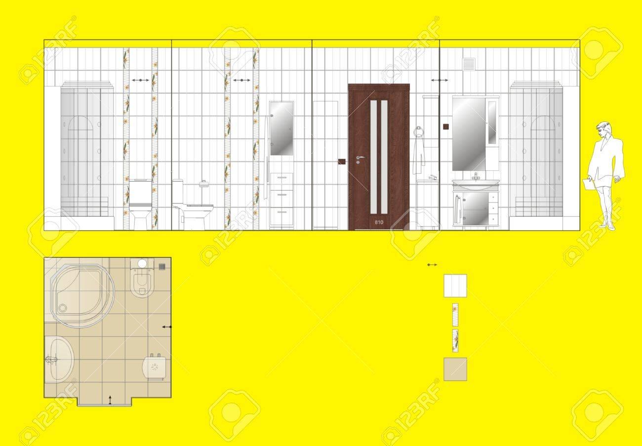 Dessin Mur Et Le Plancher Salle De Carreaux De Céramique