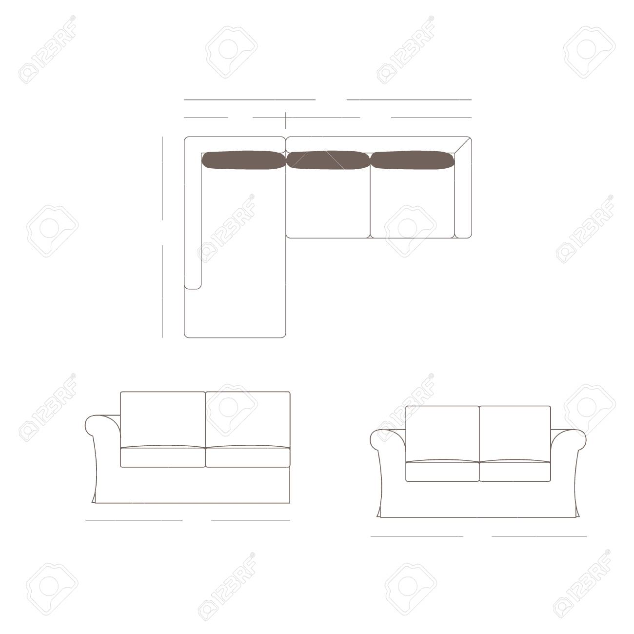 Outline Illustration Of The Couch Plan Stock Photo Picture And