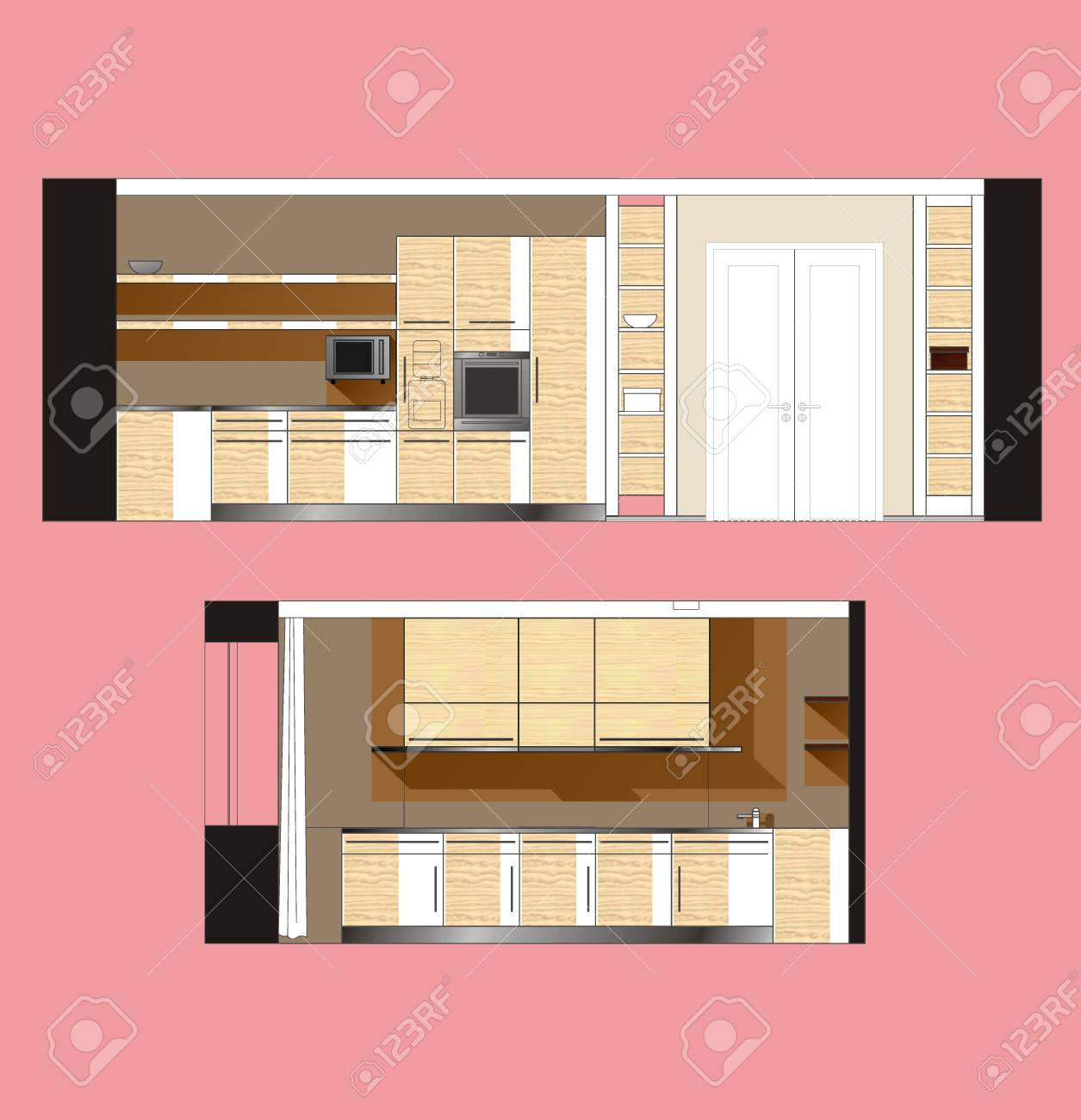 Kitchen Furniture Drawing Color Scan Of The Interior Wall Royalty ...